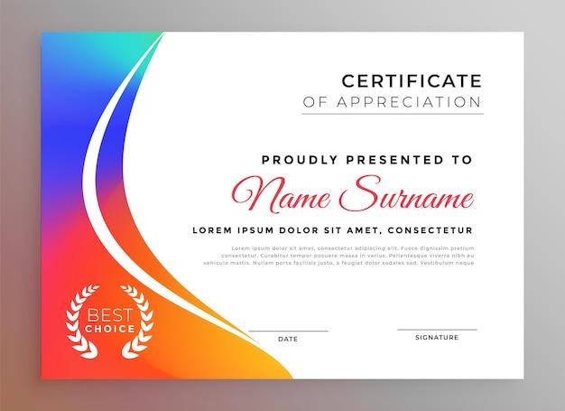 Belo design colorido de modelo de certificado de diploma