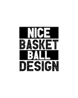 Belo design de basquete no pôster de tipografia desenhada à mão