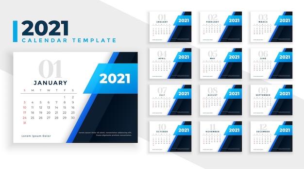 Belo design de calendário de ano novo de 2021 em tema de cor azul