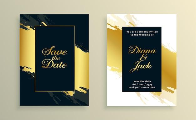 Belo design de cartão de casamento em aquarela dourada