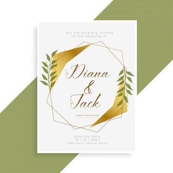 Belo design de cartão de convite de casamento de ouro