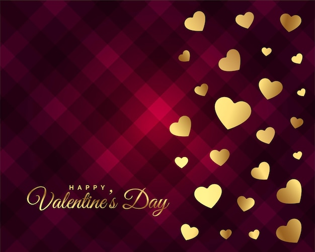 Belo design de cartão de dia dos namorados com corações dourados