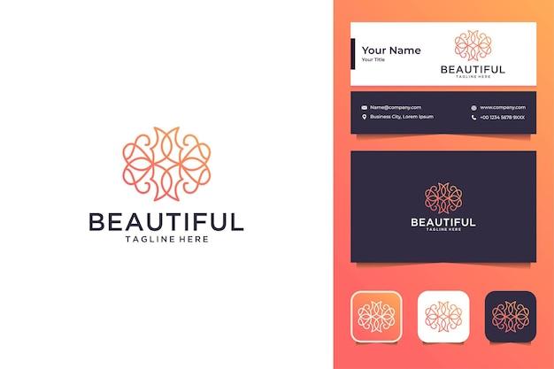 Belo design de logotipo de flor de arte de linha e cartão de visita