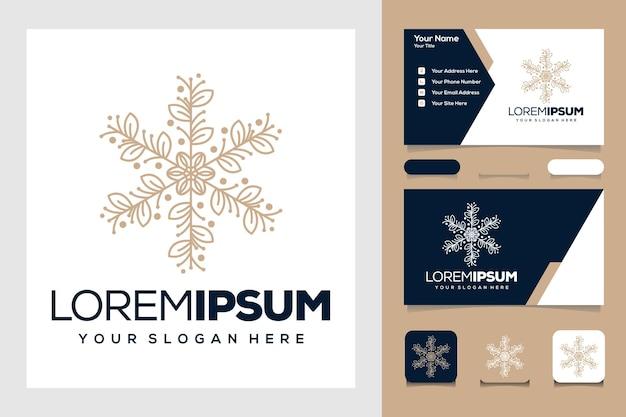 Belo design de logotipo e cartão de visita de arte em linha de folha dourada