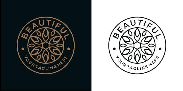 Belo design de logotipo vintage com círculo de flores