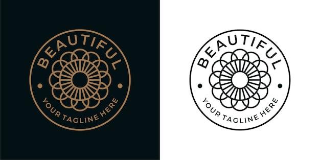 Belo design de logotipo vintage com geometria de flores