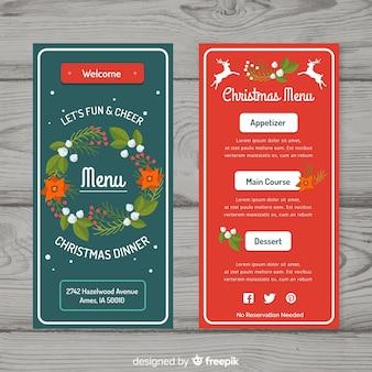 Belo design de menu de natal