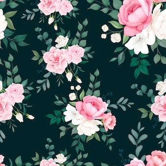 Belo design de padrão floral suave e sem costura