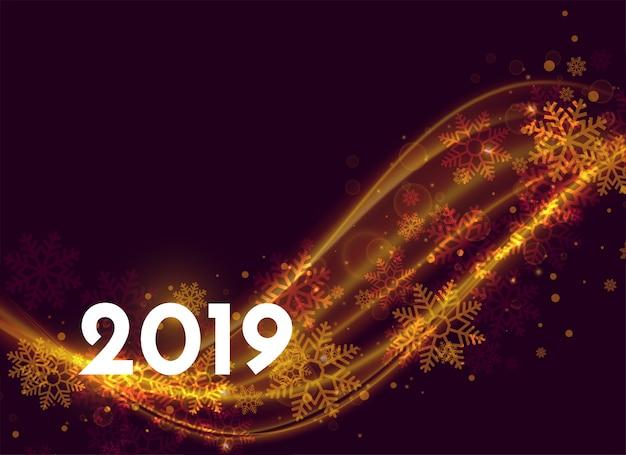 Belo design de pôster de ano novo de 2019 com efeito de luz