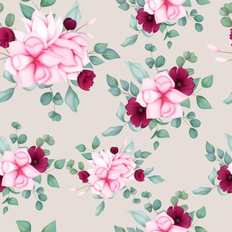 Belo design floral sem costura padrão