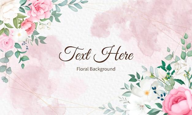 Belo design floral suave e folhas