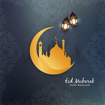 Belo design islâmico de eid mubarak com lua dourada
