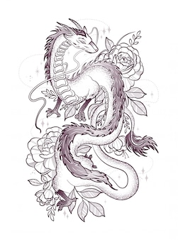 Belo dragão entre grandes rosas