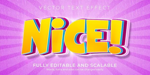 Belo efeito de texto de desenho animado, estilo de texto engraçado e cômico editável
