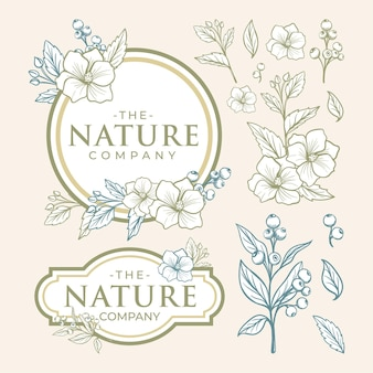 Belo elemento de arte de linha para logotipo de folha e flor