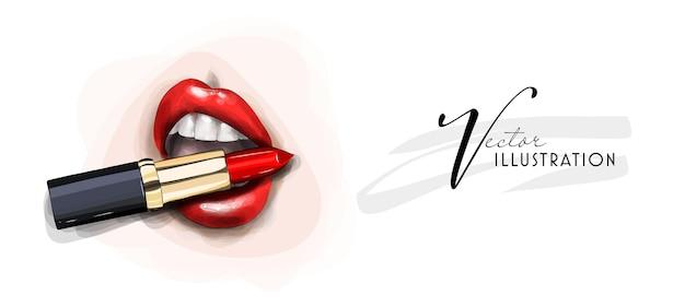 Belo esboço de maquiagem labial, batom vermelho brilhante, cuidados pessoais e procedimentos de beleza