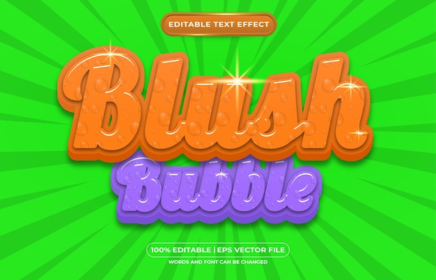Belo estilo líquido com efeito de texto editável em bolha