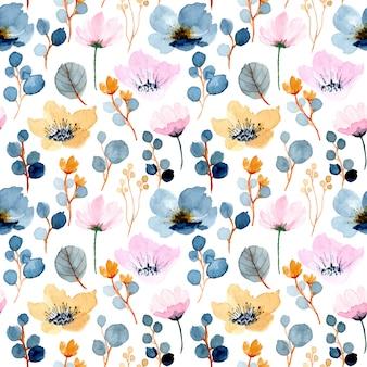 Belo floral aquarela padrão sem emenda