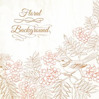 Belo fundo floral com pássaro