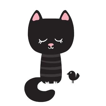 Belo gato preto ilustração vetorial ilustração vetorial no estilo cartoon clipart isolado