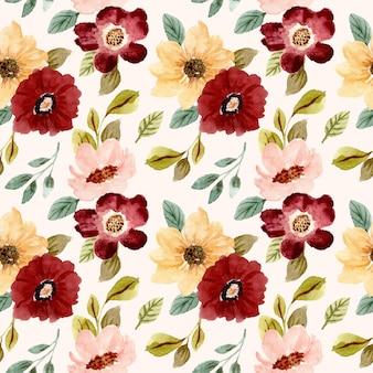 Belo jardim de flores em aquarela sem costura padrão