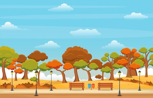 Belo jardim no outono outono com ilustração de paisagem de céu de árvore