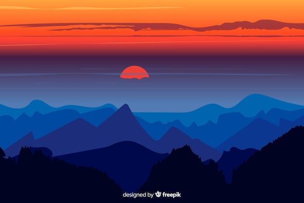 Belo jogo de cores acima das montanhas
