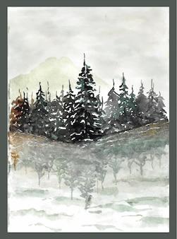 Belo lago com reflexo de floresta de pinheiros na água pintura em aquarela