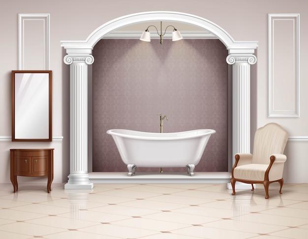 Belo luxuoso interior de casa de banho com móveis de colunas vitorianas e