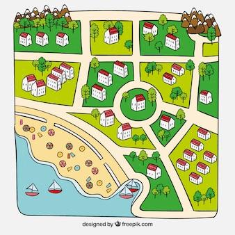 Belo mapa da cidade de verão desenhado a mão