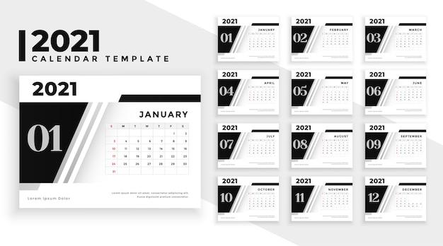 Belo modelo de calendário em estilo moderno
