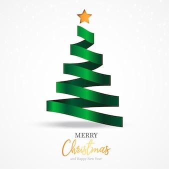 Belo modelo de cartão de natal com fita elegante como árvore de natal