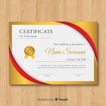 Belo modelo de certificado de ouro