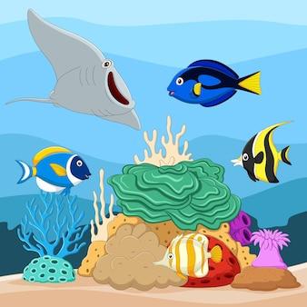 Belo mundo subaquático com corais e peixes tropicais