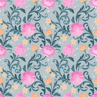 Belo ornamento floral padrão sem emenda.