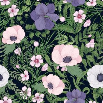 Belo padrão botânico com flores desabrochando selvagens e ervas floridas