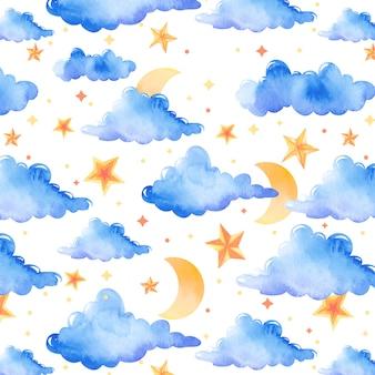 Belo padrão de aquarela com nuvens, lua e estrelas