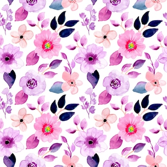 Belo padrão de aquarela floral roxo