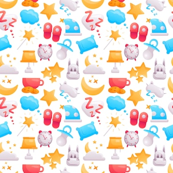 Belo padrão de ícones brilhantes e fofos