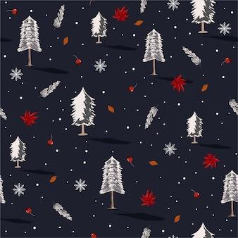 Belo padrão de repetição sem costura com árvores de natal com flocos de neve