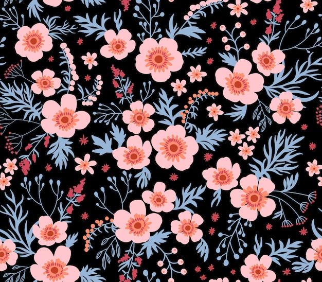 Belo padrão em flor pequena. pequenas flores cor de rosa. fundo preto. teste padrão floral sem emenda. Vetor Premium