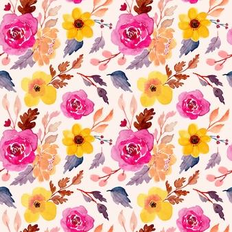 Belo padrão floral em aquarela