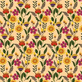Belo padrão floral exótico pintado à mão