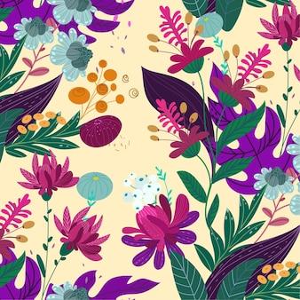 Belo padrão floral exótico
