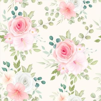 Belo padrão floral sem costura