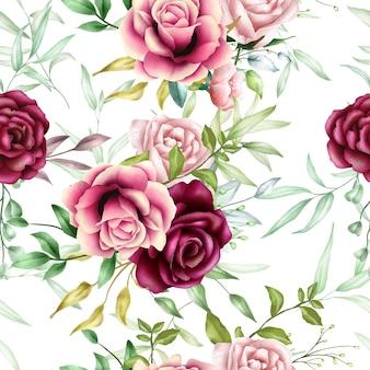 Belo padrão sem emenda aquarela floral folhas
