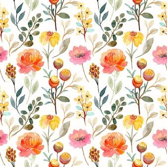 Belo padrão sem emenda com aquarela floral amarela