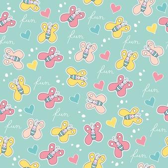 Belo padrão sem emenda com borboletas doodle