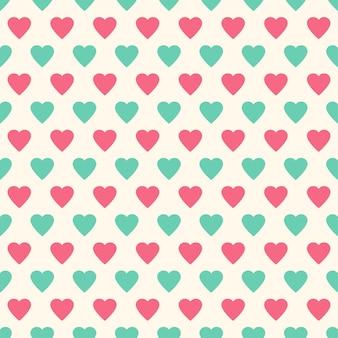 Belo padrão sem emenda com corações, ilustração vetorial