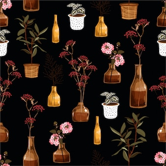 Belo padrão sem emenda com flores decorativas criativas em vaso, botânica na panela, em vetor se dignou a moda, tecido, papel de parede, envolvimento e todas as impressões
